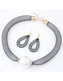 Fall White Pearl Decorated Simple Design Alloy Jewelry Sets