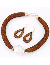 Coast Orange Pearl Decorated Simple Design Alloy Jewelry Sets