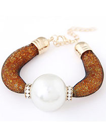 Hemming Orange Pearl Decorated Simple Design Alloy Korean Fashion Bracelet