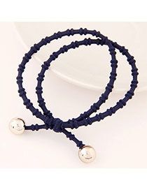 Antique Dark Blue Beads Decorated Double Layer Design Alloy Hair Band Hair Hoop