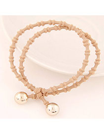 Liquid Coffee Beads Decorated Double Layer Design Alloy Hair Band Hair Hoop