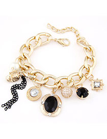 Liquid Black Multi-element Decorated Simple Design Alloy Korean Fashion Bracelet