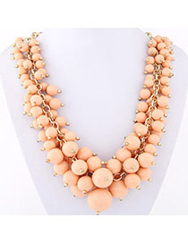 Victorian Pink Candy Color Beads Decorated Simple Design Alloy Bib Necklaces