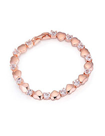 Masonic Rose Gold Heart Shape Decorated Simple Design Alloy Crystal Bracelets