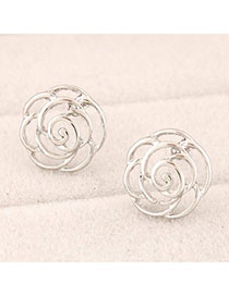 Charming Silver Color Rose Flower Shape Simple Design Alloy Stud Earrings