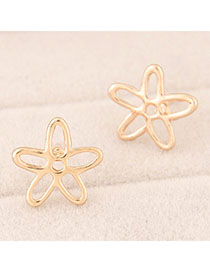 Doggie Gold Color Bauhinia Shape Simple Design Alloy Stud Earrings