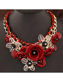 Inspiratio Black Gemstone Flower Decorated Weaving Pearl Chain