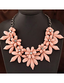 Electronic Pink Flower Shape Decorated Simple Design Alloy Bib Necklaces