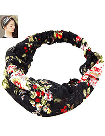 Wonderful Black Flower Pattern Decorated Simple Design Fabric Hair Band Hair Hoop