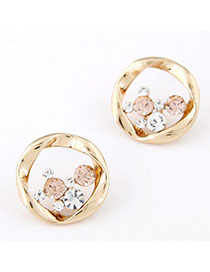 Juniors Gold Color Diamond Decorated Round Shape Design Alloy Stud Earrings