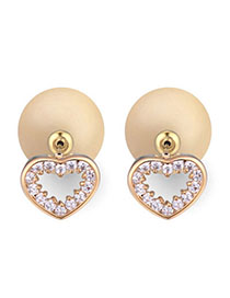 Custom Light Yellow Diamond Decorated Heart Shape Design Zircon Crystal Earrings