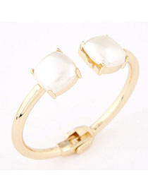 Rave White Gemstone Decorated Square Shape Design Alloy Fashion Bangles