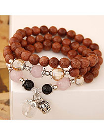 Propper Brown Beads Decorated Multilayer Design Alloy Fashion Bracelets