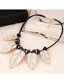 Beige White Leaf Shape Decorated Simple Design Alloy Bib Necklaces