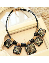 Airmail Black Square Shape Decorated Simple Design Alloy Bib Necklaces