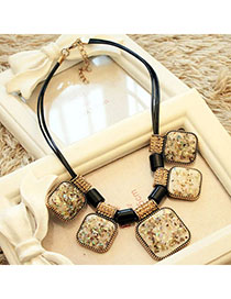 Venetian Beige Square Shape Decorated Simple Design Alloy Bib Necklaces