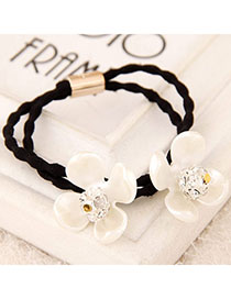 Military White Diamond Decorated Flower Design Rubber Band Hair Band Hair Hoop