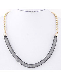 Dreamlike Black Chain Shape Decorated Simple Design Alloy Korean Necklaces