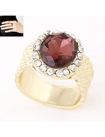 Dreamlike Claret-red Diamond Decorated Simple Design Alloy Korean Rings