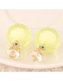 Patagonia Yellow Candy Color Diamond Decorated Round Shape Design Alloy Stud Earrings