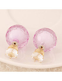 Fashion Pink Geometric Shape Diamond Decorated Earrings