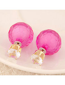 Monarch Plum Red Conady Color Diamond Decorated Round Shape Design Alloy Stud Earrings