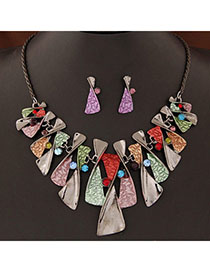 Funky Multicolor Diamond Decorated Geometrical Shape Design Alloy Jewelry Sets