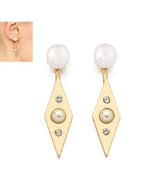 Lucky Gold Color Pearl Decorated Rhombus Shape Design Alloy Stud Earrings