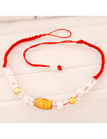 Fashion Gold Color Beads Decorated Weave Design Alloy Korean Fashion Bracelet