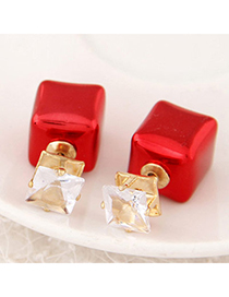 joker Red Diamond Decorated Sqaure Shape Design Alloy Stud Earrings