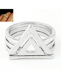 Fashion Silver Color Triangle Shape Decorated Simple Design Alloy Korean Rings