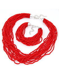 bohemia Red Beads Decorated Multilayer Design Alloy Jewelry Sets