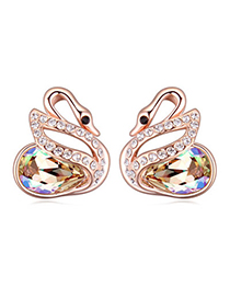 Extravagant Luminous Green Diamond Decorated Swan Shape Design Alloy Crystal Earrings