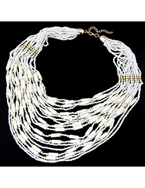 bohemia White Beads Decorated Multilayer Design Alloy Beaded Necklaces