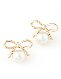 elegant White Pearl Decorated Bowknot Shape Design