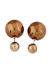 Occident Coffee Round Shape Decorated Simple Design Alloy Stud Earrings