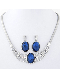 Elegant Silver Color Diamond Decorated Oval Shape Design Alloy Jewelry Sets