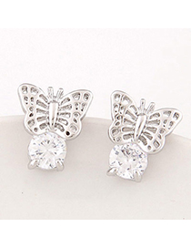 Silver Color Silver Color Butterfly Shape Decorated Hollow Out Design Alloy Stud Earrings