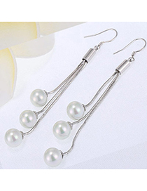 High-quality Silver Color Pearl Decorated Tassle Design Cuprum Fashion Earrings