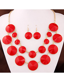 Joker Red Gemstone Decorated Round Shape Double Layer Design