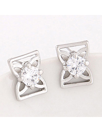 Fashion Silver Color Diamond Decorated Bowknot Shape Design Alloy Stud Earrings