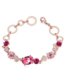 Delicate Plum Red Diamond Decorated Oval Shape Design Alloy Crystal Bracelets