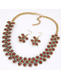 Occident Claret-red Diamond Decorated Flower Design Alloy Jewelry Sets