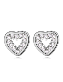 Casual Silver Color Diamond Decorated Heart Shape Design Zircon Crystal Earrings