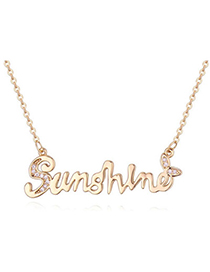 Delicate Champagne Gold Diamond Decorated Letter Shape Design Zircon Crystal Necklaces