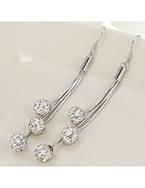 Fashion Silver Color Diamond Decorated Round Shape Design Cuprum Crystal Earrings