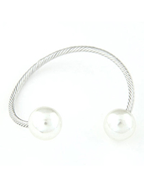 Trendy Silver Color Pearl Decorated Simple Design