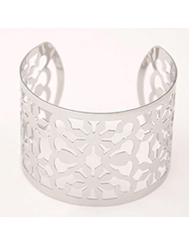 Trendy Silver Color Flower Shape Decorated Hollow Out Design Alloy Fashion Bangles