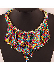Bohemia Multicolor Beads Decorated Weave Tassle Design