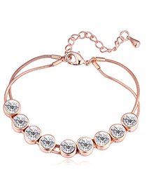 Glamour Rose Gold & White Diamond Decorated Simple Design Alloy Crystal Bracelets